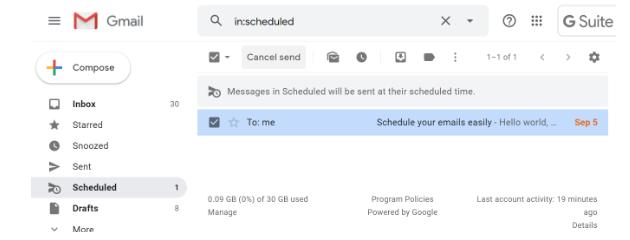 Check scheduled mail