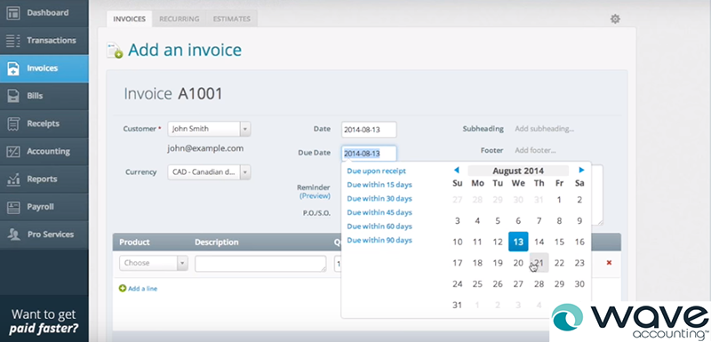 Wave - Cloud Based Free Invoice Software