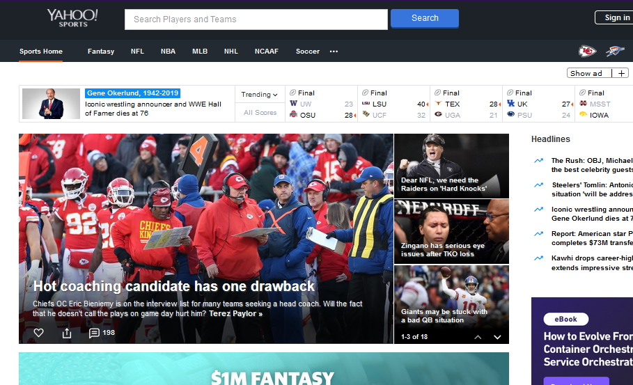 Yahoo Sports - Popular Sports Streaming Site