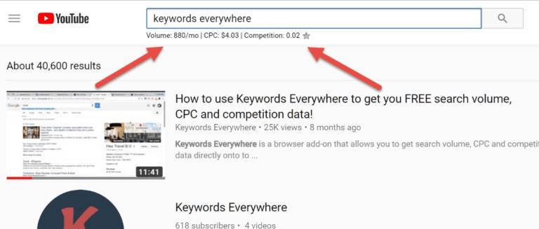 Keywords Everywhere Tool For YouTube Keyword Research