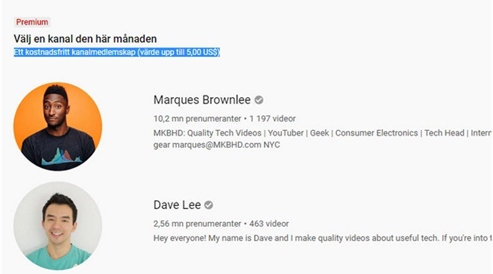 YouTube Premium Channel Subscription Perk