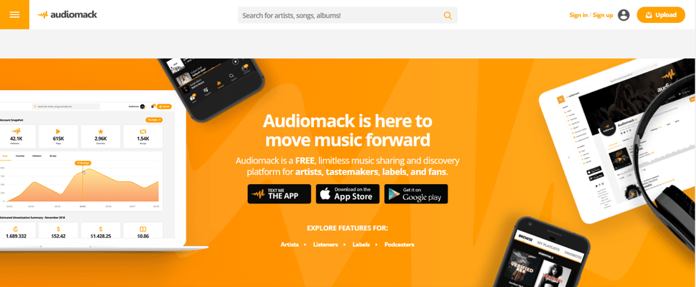 Best Music Streaming Site - Audiomack