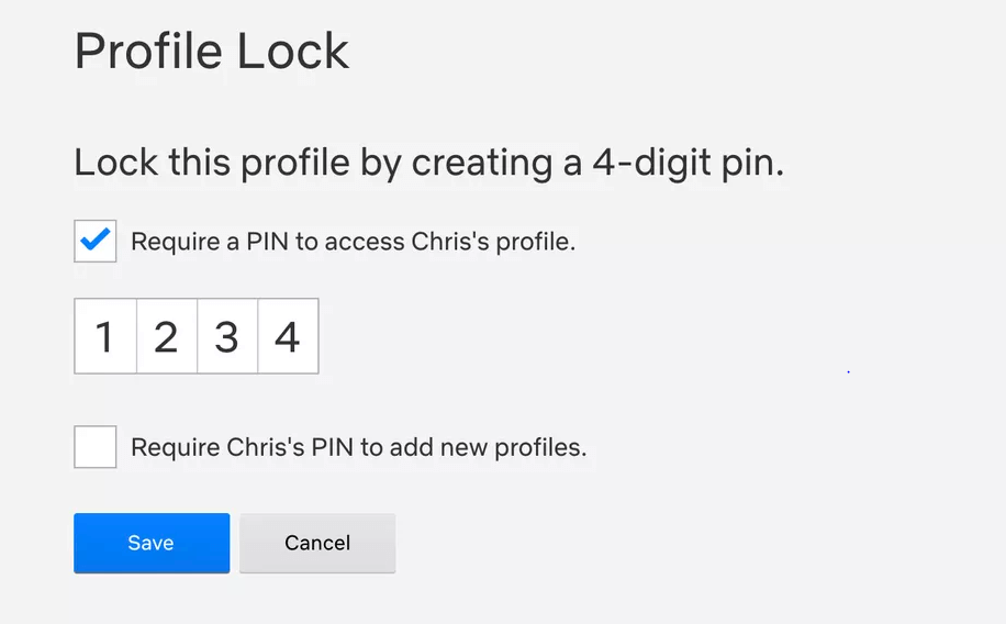 check the box to 'Require a PIN to access the selected profile to Set Up PIN Lock on Netflix Profile