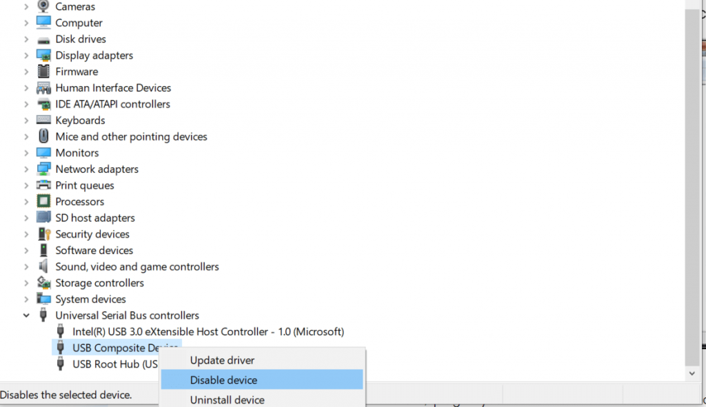 Disable the USB Ports Using the Device Manager