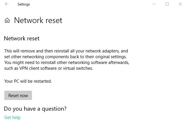 Đặt lại cài đặt mạng để sửa Wifi Không hoạt động