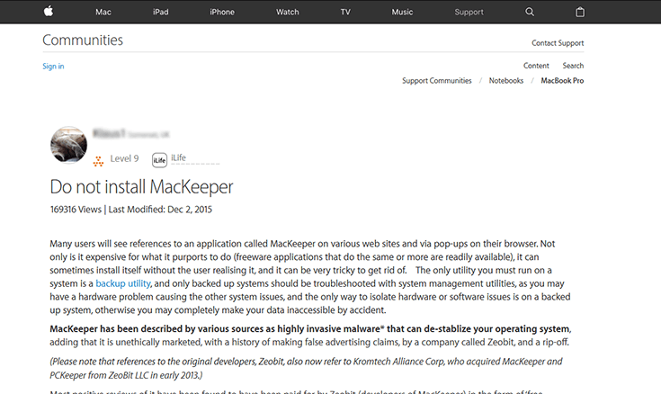 Do not install mackeeper