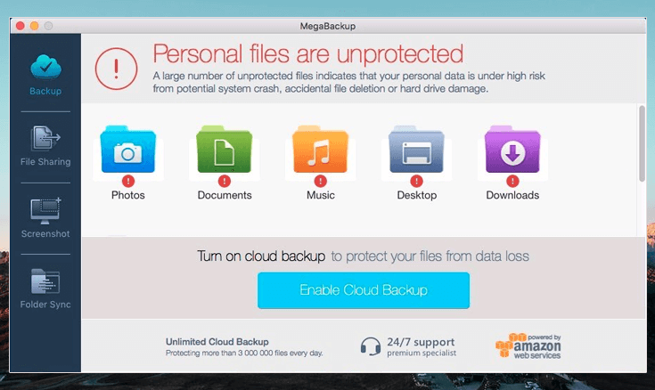 mega backup showing fake error