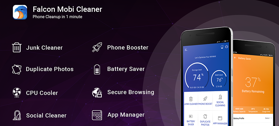 Falcon Mobi Cleaner- Junk Cleaner, Booster & CPU Cooler